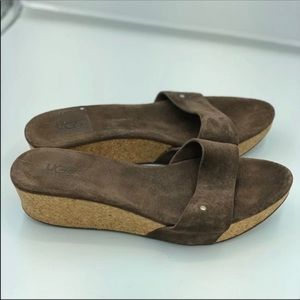 Ugg Cork Wedges Suede Brown Size 9
